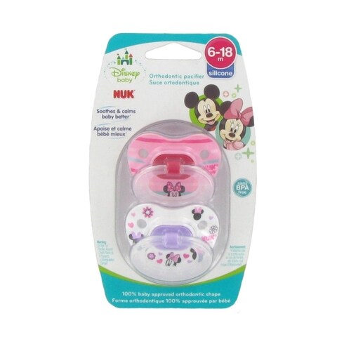 NUK Disney Minnie Mouse Orthodontic Pacifier - 6-18 Months - 2 Pack - Pink/White - Stripes/Hearts - Multi