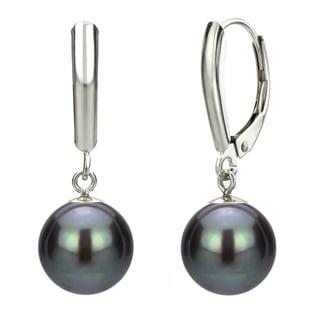 DaVonna 14k White Gold Black Cultured Pearl Dangle Earrings (9-10 mm)