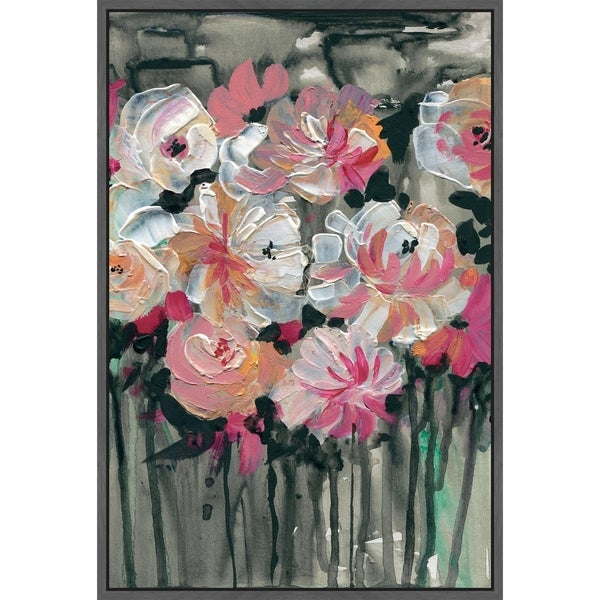 Marmont Hill - Handmade Dancing Flowers Floater Framed Print on Canvas
