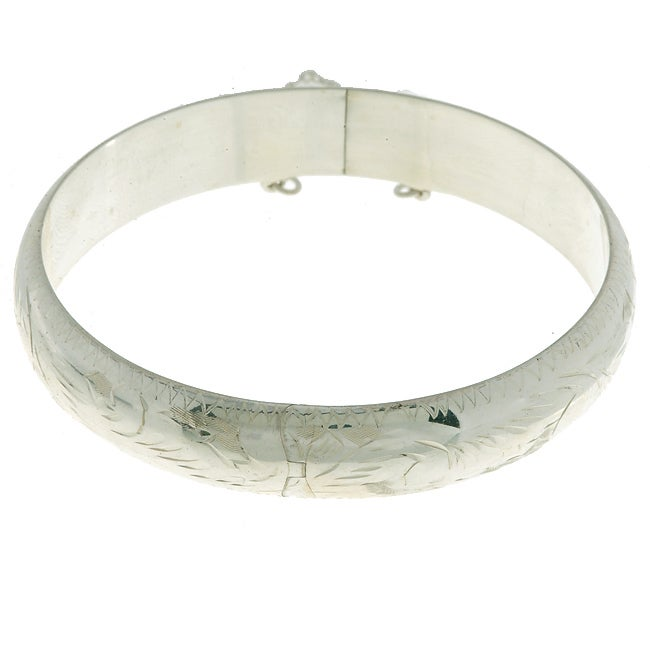 Sterling Essentials Sterling Silver 7-inch Engraved Bangle Bracelet (12mm)