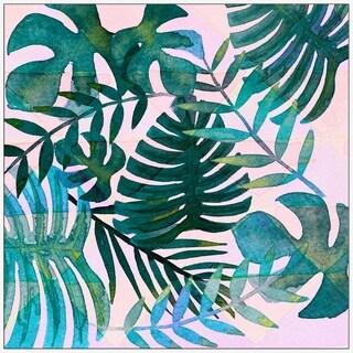 Marmont Hill - Handmade Banana Leaves in Blush Floater Framed Print on Canvas