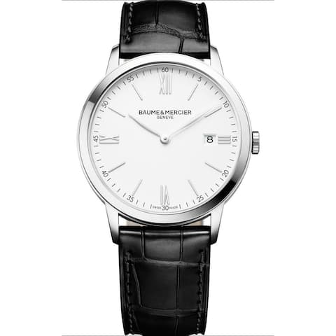 Baume & Mercier Men's 'Classima' Black Leather Watch