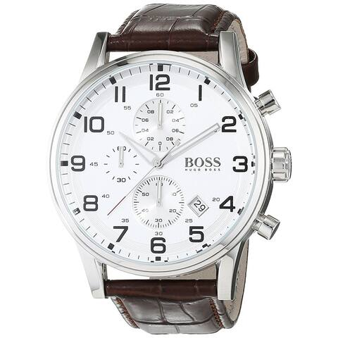 Hugo Boss Men's 1512447 'Black' Chronograph Brown Leather Watch