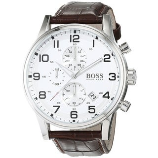 Link to Hugo Boss Men's 1512447 'Black' Chronograph Brown Leather Watch Similar Items in Men's Watches