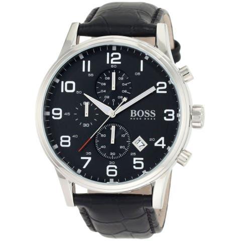 Hugo Boss Men's 'Black' Chronograph Black Leather Watch