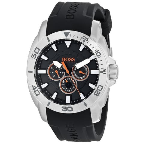 Hugo Boss Men's 1512950 'Orange' Multi-Function Black Silicone Watch