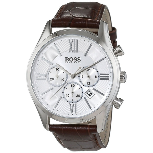 Hugo Boss Men S 1513195 Ambassador Chronograph Brown Leather Watch