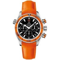Omega Men's  'Seamaster Planet Ocean' Chronograph Automatic Orange Leather Watch