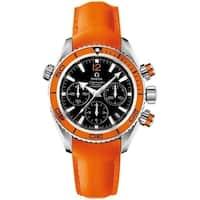 Omega Men's 222.32.38.50.01.003 'Seamaster Planet Ocean' Chronograph Automatic Orange Leather Watch