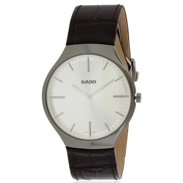 Rado Men's 'True Thinline' Brown Leather Watch. Opens flyout.