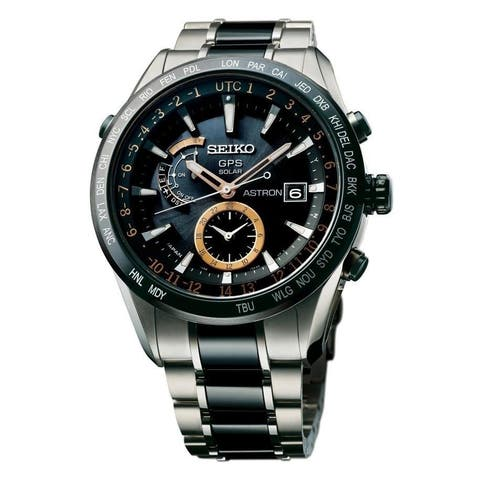 Seiko Men's SAST017 'Astron GPS Solar Limited Edition' World Time Two-Tone Titanium and Ceramic Watch