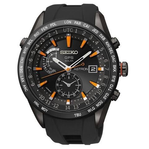 Seiko Men's SAST025 'Astron GPS Solar' World Time Black Stainless Steel Watch