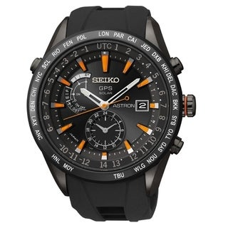 Link to Seiko Men's SAST025 'Astron GPS Solar' World Time Black Stainless Steel Watch Similar Items in Men's Watches