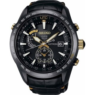 Seiko Men's 'Astron GPS Solar Limited Edition' World Time Black Leather Watch