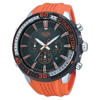 Pulsar Men's PT3511 Chronograph Orange Rubber Watch