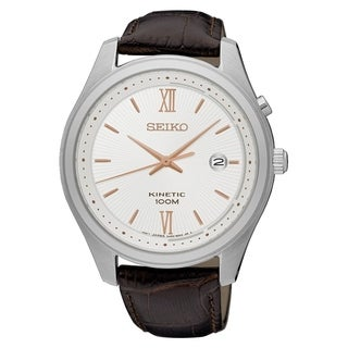 Seiko Men's SKA773 'Kinetic' Brown Leather Watch
