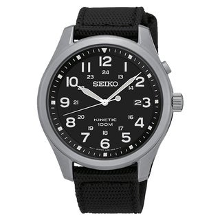 Seiko Men's SKA727 'Kinetic' Black Nylon Watch