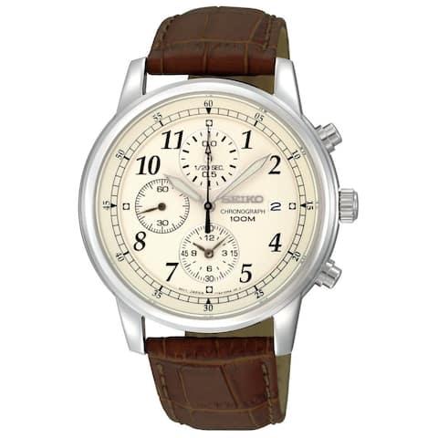 Seiko Men's SNDC31 Chronograph Brown Leather Watch