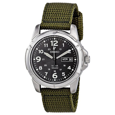Seiko Men's 'Solar' Green Nylon Watch