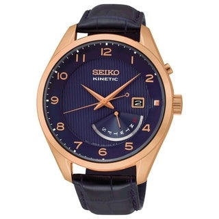 Seiko Men's SRN062 'Kinetic' Blue Leather Watch