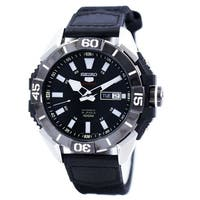 Seiko Men's SRP799 '5' Automatic Black Nylon and Leather Watch