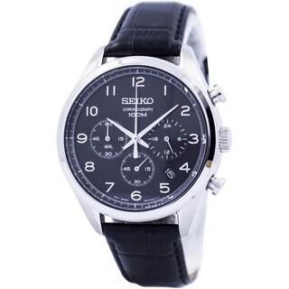 Seiko Men's Chronograph Black Leather Watch