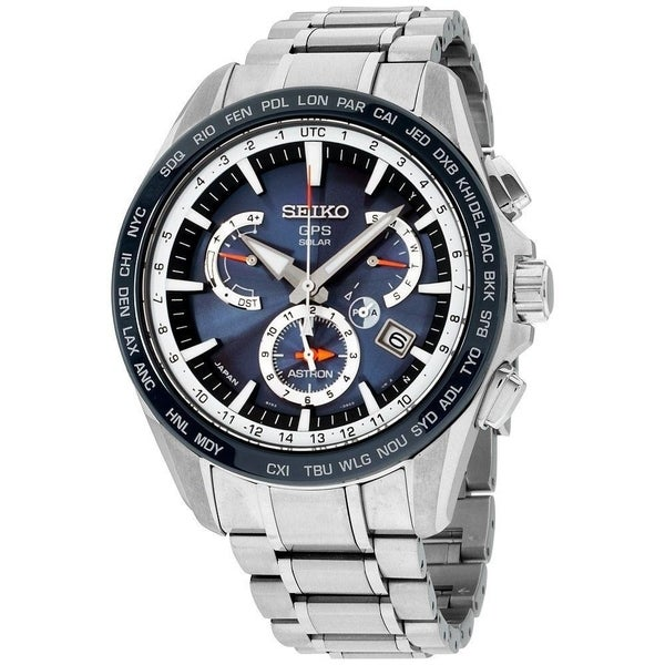 e54f23f1d Shop Seiko Men's SSE053 'Astron GPS Solar' Chronograph World Time Stainless  Steel Watch - Free Shipping Today - Overstock - 20904499
