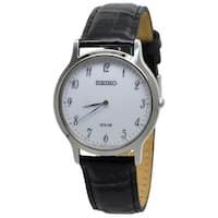 Seiko Men's  'Solar' Black Leather Watch