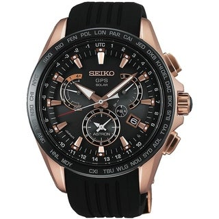 Seiko Men's SSE055 'Astron GPS Solar' World Time Black Silicone Watch