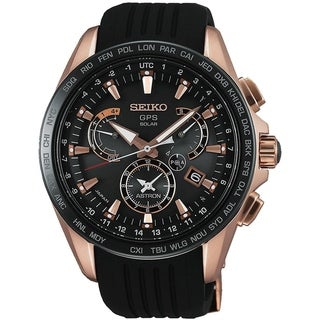 Link to Seiko Men's SSE055 'Astron GPS Solar' World Time Black Silicone Watch Similar Items in Men's Watches