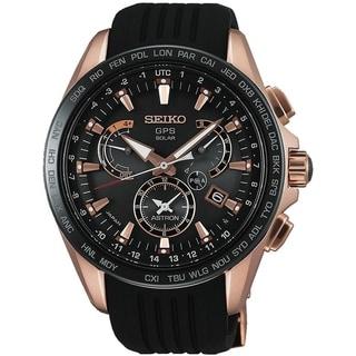 Seiko Men's SSE055 'Astron GPS Solar' World Time Black Silicone Watch