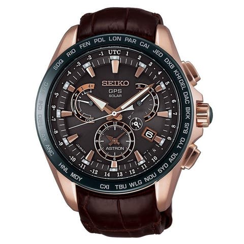 Seiko Men's SSE060 'Astron GPS Solar Novak Djokovic Limited Edition' Chronograph World Time Brown Leather Watch
