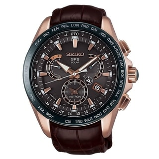 Link to Seiko Men's SSE060 'Astron GPS Solar Novak Djokovic Limited Edition' Chronograph World Time Brown Leather Watch Similar Items in Men's Watches