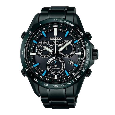 Seiko Men's SSE013 'Astron GPS Solar' Chronograph Black Stainless Steel Watch