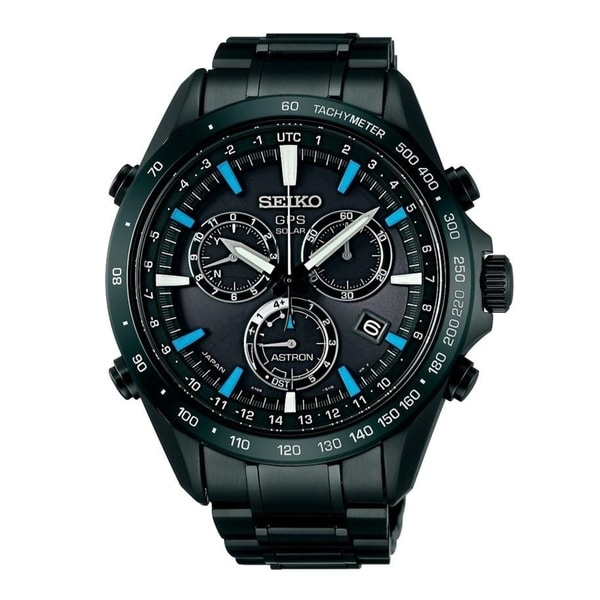 Seiko Men's SSE013 'Astron GPS Solar' Chronograph Black Stainless Steel Watch. Opens flyout.