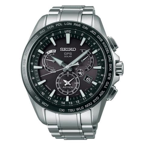 Seiko Men's SSE077 'Astron GPS Solar' Chronograph World Time Stainless Steel Watch