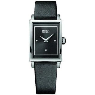 Hugo Boss Women's Crystal Black Leather Watch