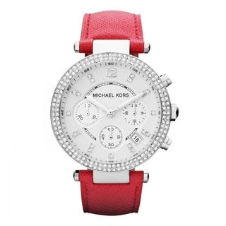Michael Kors Women's 'Parker' Chronograph Crystal Pink Leather Watch