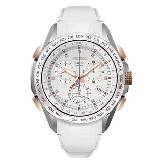 Seiko Women's SSE021 'Astron GPS Solar Limited Edition' Chronograph Diamond World Time White Leather Watch