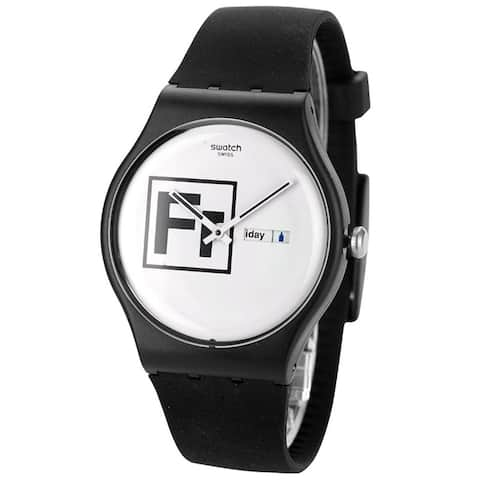 Swatch Unisex 'Fritz' Black Silicone Watch