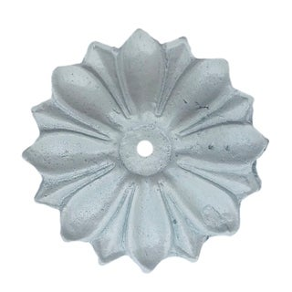 Antique Solid Metal Flower Shaped Knob Back Plate, White - Pack of 6