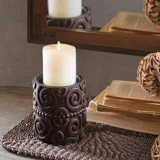 INK IVY Pacheco Brown Candle Holder - Small