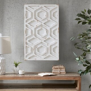INK IVY Ralston White Wooden Wall Art with Pattern