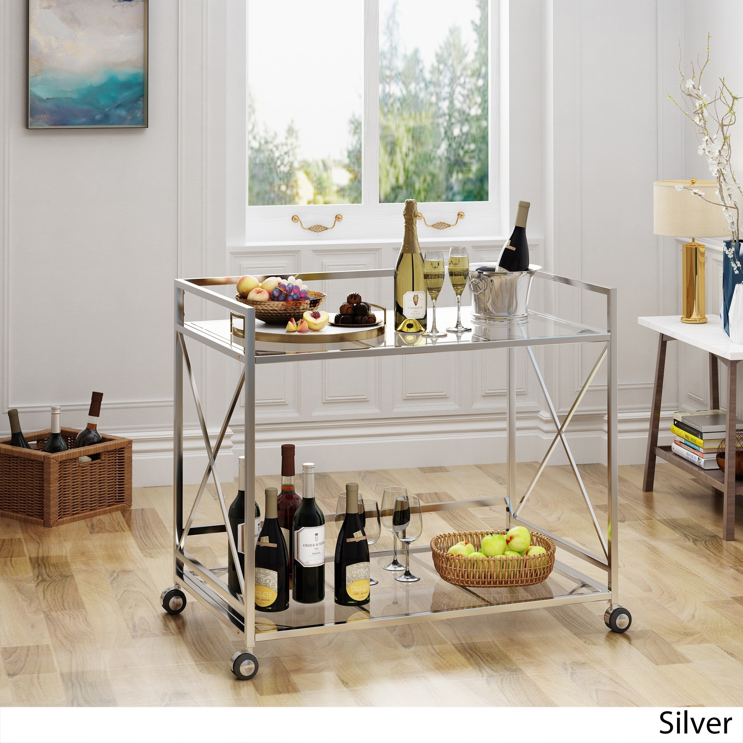 Ignatius Industrial Modern Glass Bar Cart By Christopher Knight Home Overstock 20905122