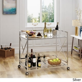 Link to Ignatius Industrial Modern Glass Bar Cart by Christopher Knight Home Similar Items in Home Bars