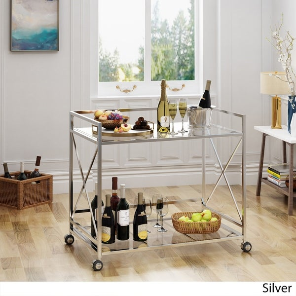 Ignatius Industrial Modern Glass Bar Cart by Christopher Knight Home. Opens flyout.