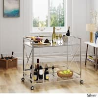 Ignatius Industrial Modern Glass Bar Cart by Christopher Knight Home
