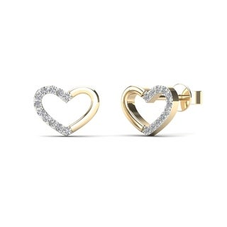 AALILLY 14k Yellow Gold Diamond Accent Heart Fashion Stud Earrings (H-I, I1-I2) - White H-I