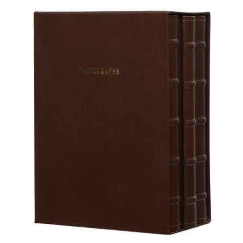 Premium Leather Photo Albums, Holds 120 4x6 Photos, Set of 3