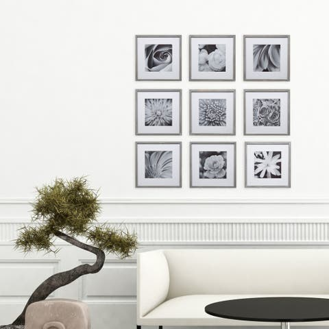 9 Piece Greywash Square Photo Frame Wall Gallery Kit with Decorative Art Prints & Hanging Template